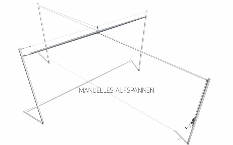 Soliday-X Schema Zeichnung Sonnensegel aufgerollt