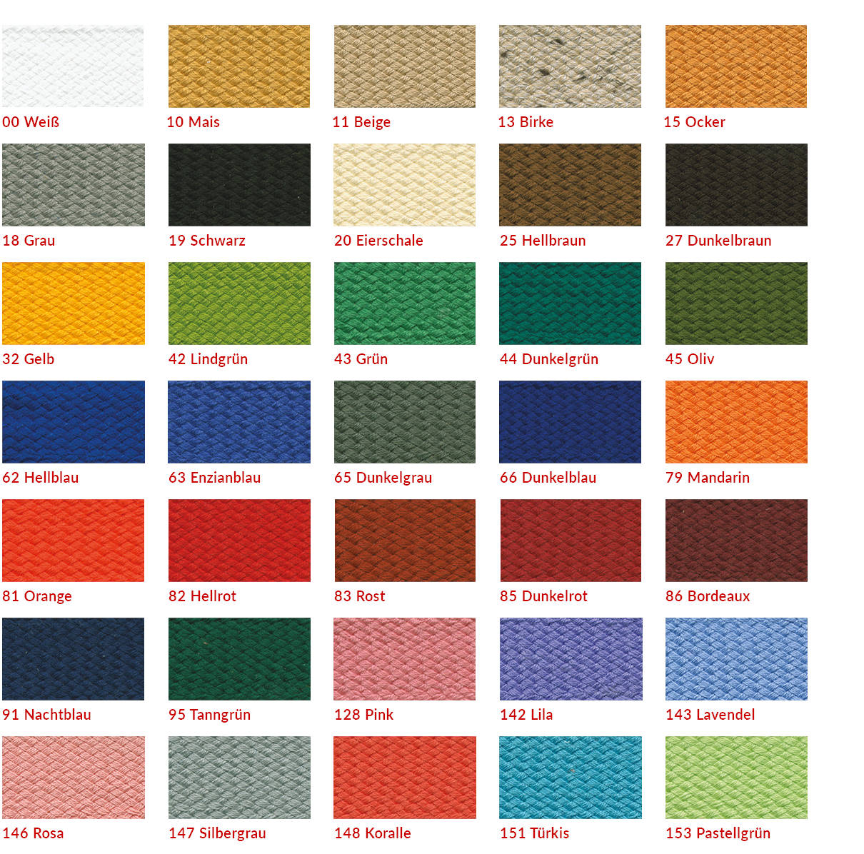 Farben für Einfassbänder für Markisen