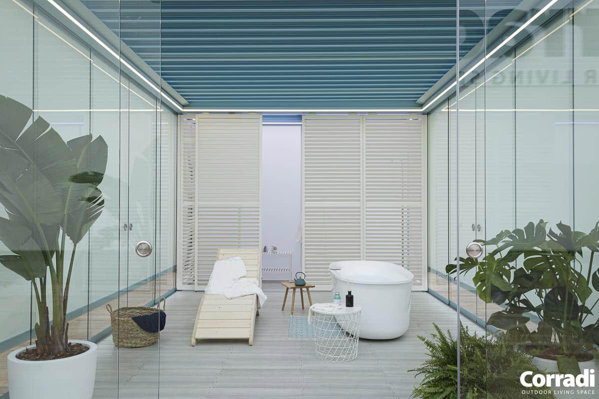 Bioclimatics Imago Pergola mit Outdoor-Wellness-Bereich
