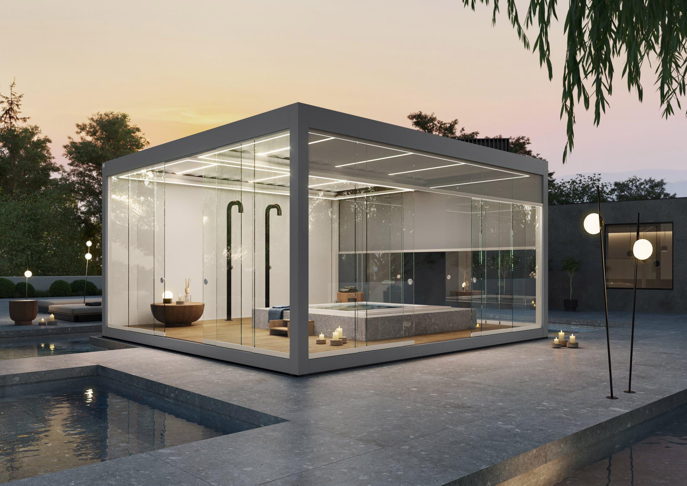 Bioclimatics Imago Pergola als Spa-Bereich auf der Terrasse